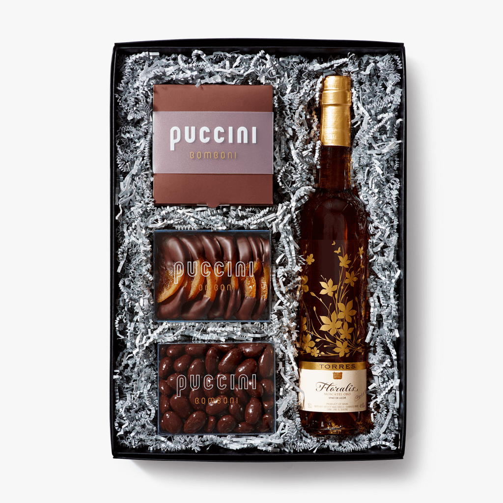 Tosca luxury gift box with a box of bonbons, chocolate Almonds, a large bottle of Port and more