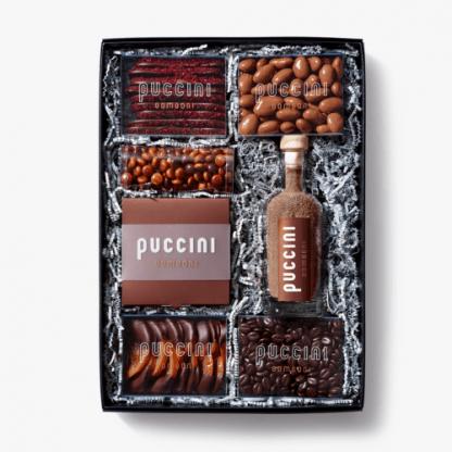 Luxe Puccini Bomboni chocolade geschenkdoos alcoholvrij met bonbons en andere chocolade producten groot formaat