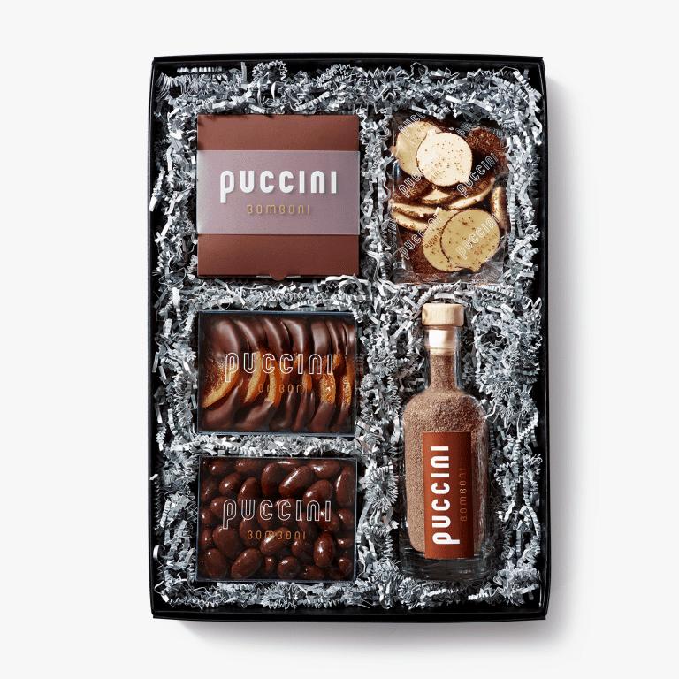 Luxe Puccini Bomboni chocolade geschenkdoos alcoholvrij met bonbons en andere chocolade producten