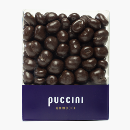 Indonesian Gayo Blue Mountain Coffee beans enrobed in 57% dark chocolate