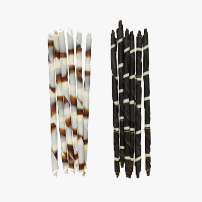 Chocolate Panatella pencils in dark and white chocolate, and in marbled chocolate